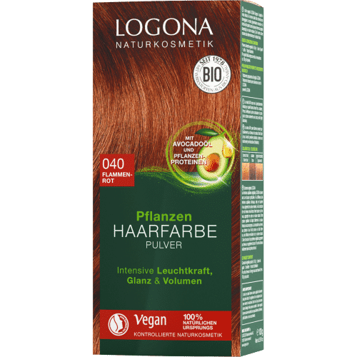 hair colr powder flammerød logona