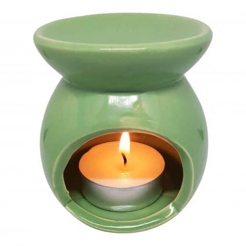 duftlampe i grøn keramik