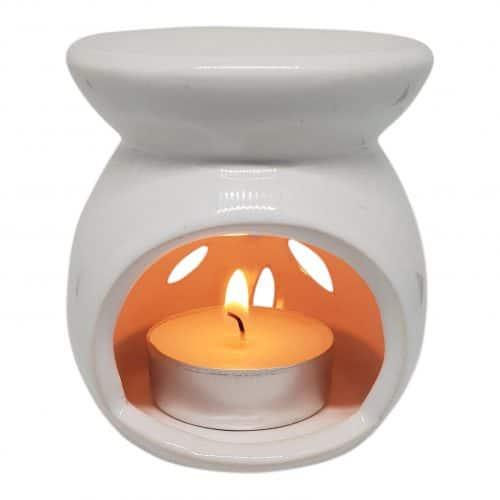 duftlampe i hvid keramik