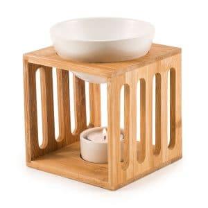 duftlampe i bambus og hvid keramik til æteriske olier